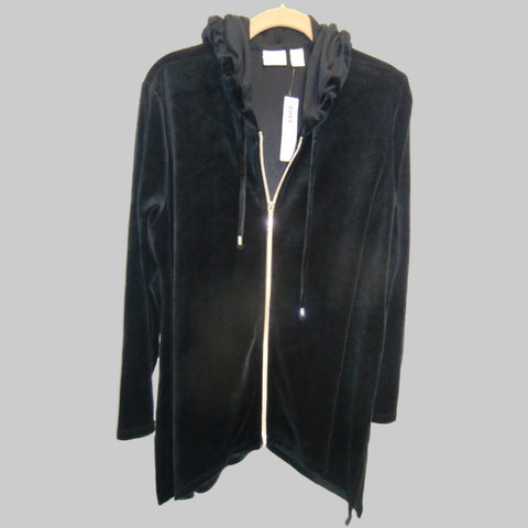 new Chico ladies black velour hooded jacket
