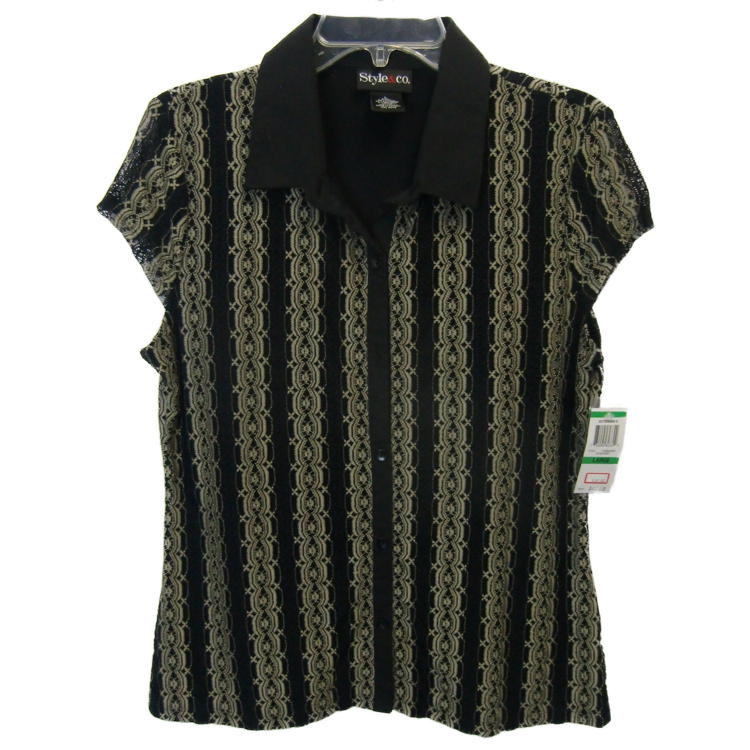 new ladies black and gold blouse