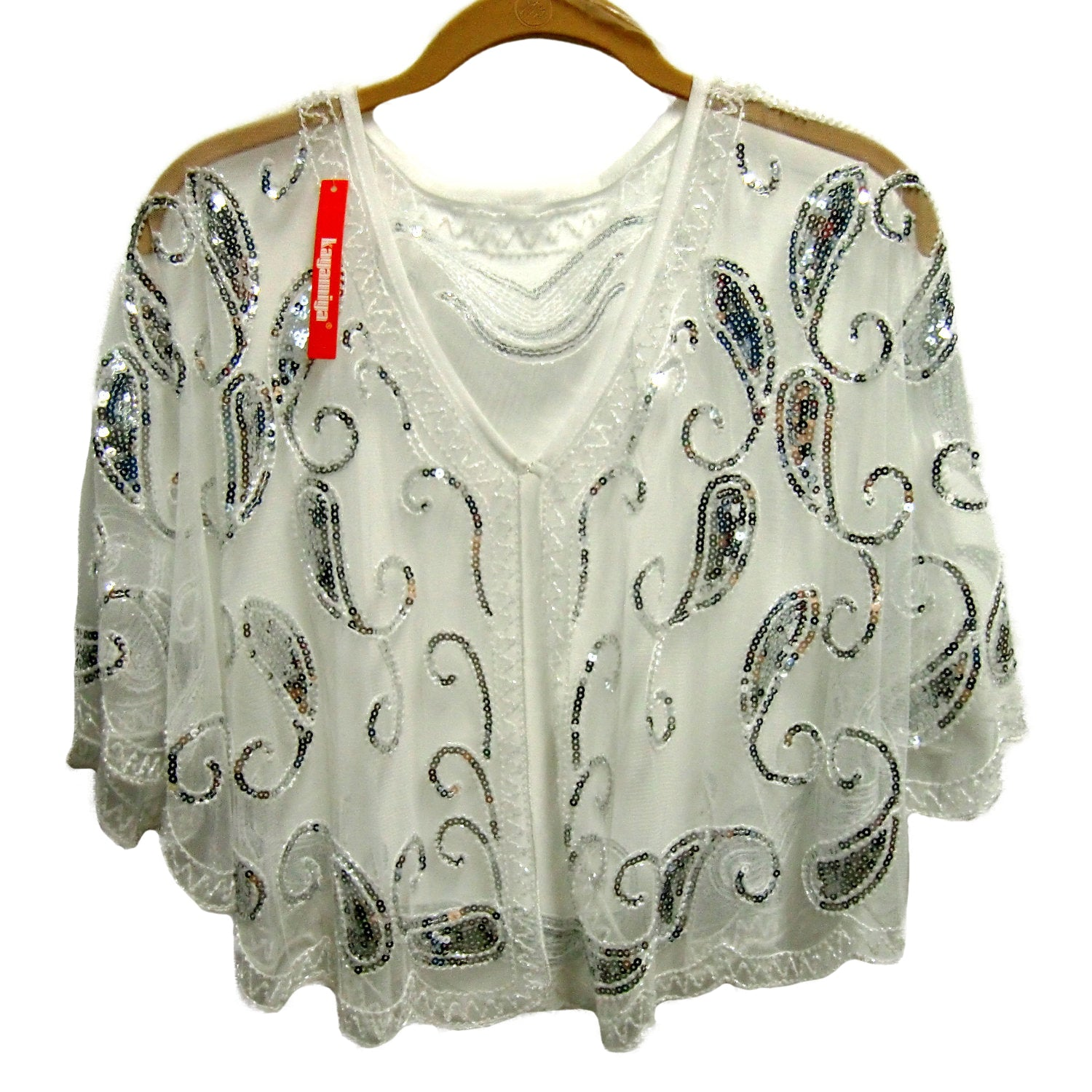 new Kayamiya ladies white sequin cape