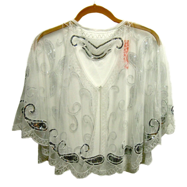 new ladies white sequin cape