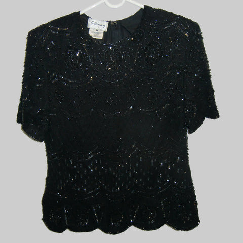 used ladies black beaded top