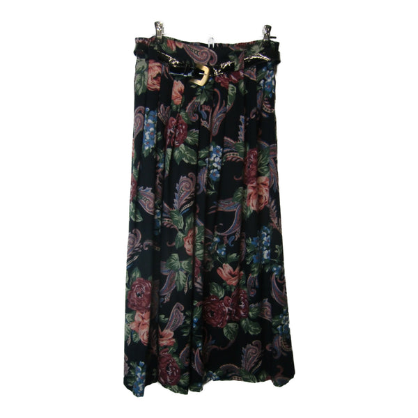 used Kathy Lee skirt, black with floral print