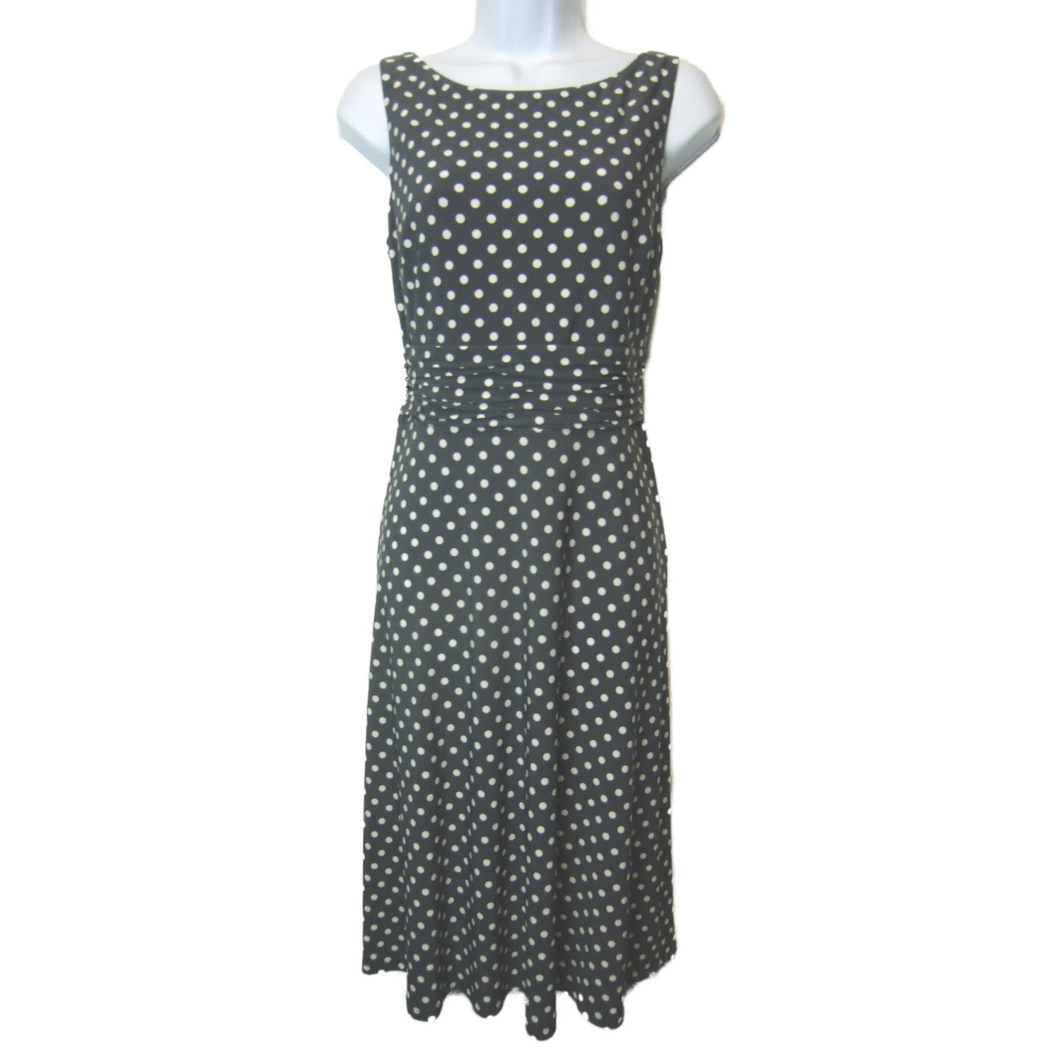 used ladies gray white polka dot dress