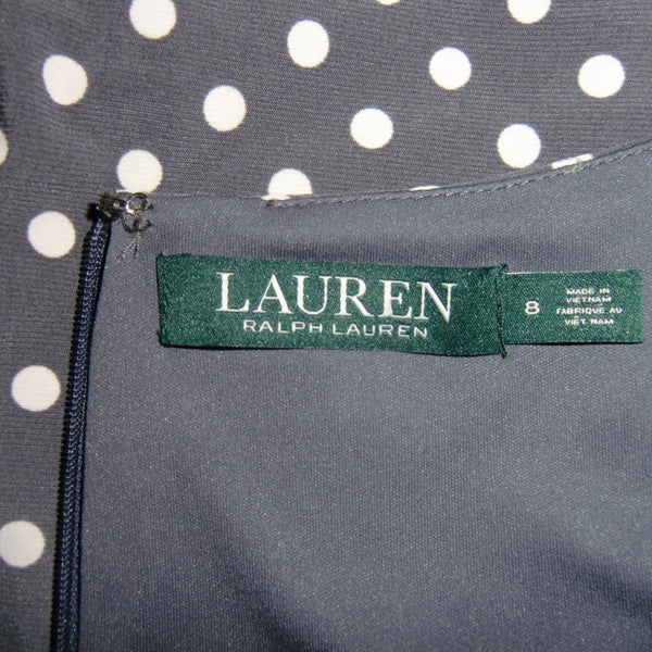 used Ralph Lauren ladies gray white polka dot dress