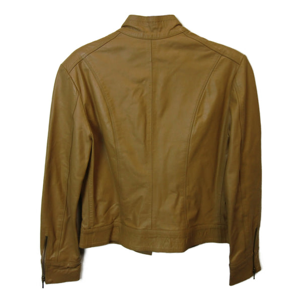 used CLAUP ladies tan leather-look jacket