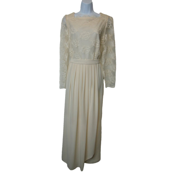 used ladies cream colored lace evening gown
