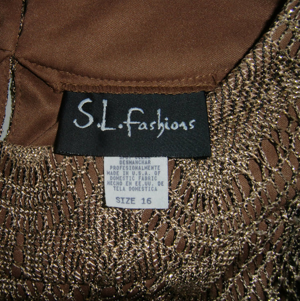 used S.L.Fashions ladies gold vintage flapper dress