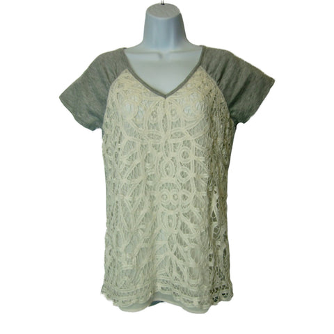 new Maurices ladies gray with cream lace top