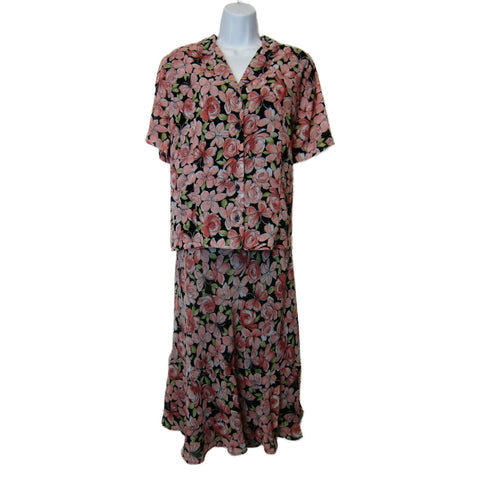 used Alfred Dunner ladies floral top and skirt set