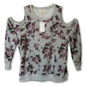 new No Comment Plus ladies gray floral print sweatshirt