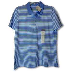 new Laura Scott ladies blue and white polo shirt