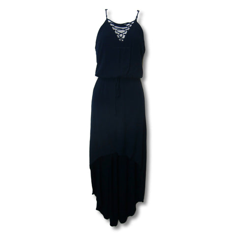 used Bisou Bisou ladies navy blue hi-low dress