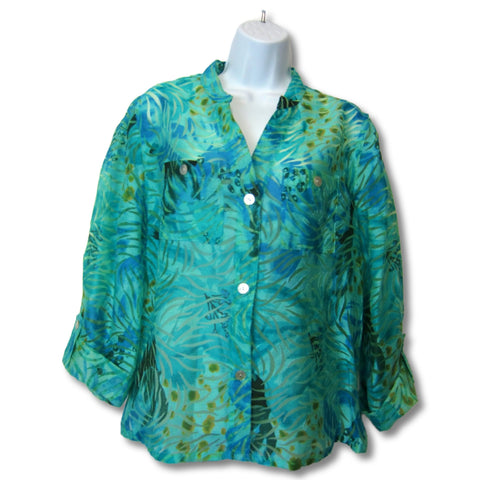 used Ruby Ltd blue ladies semi sheer top