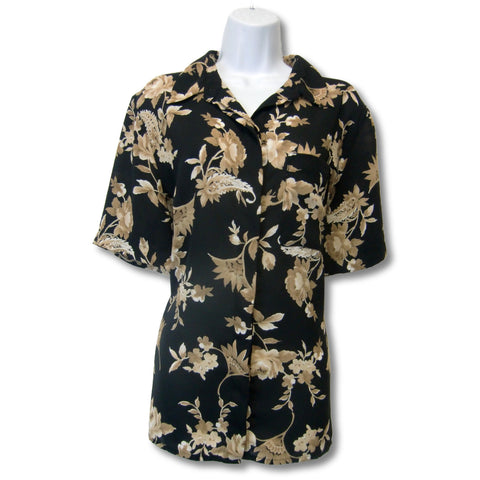 used Alfred Dunner ladies black floral print blouse