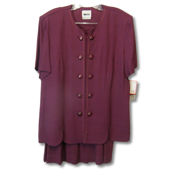 new Leslie Fay ladies wine color 2-piece suit