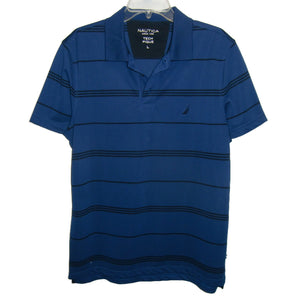 used man's blue polo shirt