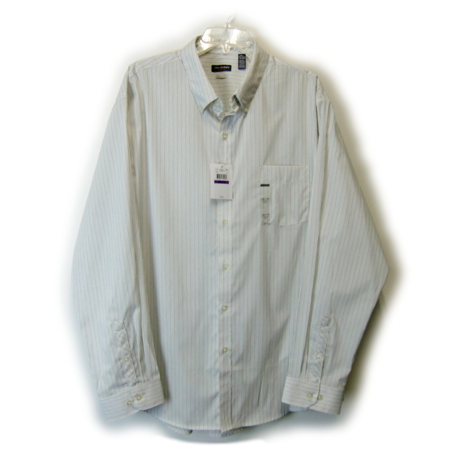 new Van Heusen classic fit man's white pinstripe shirt