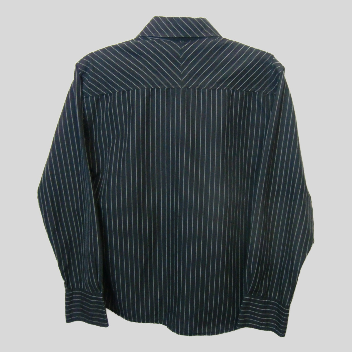 used man's black pinstripe shirt