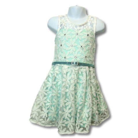 used Knit Works girls green and white party dress