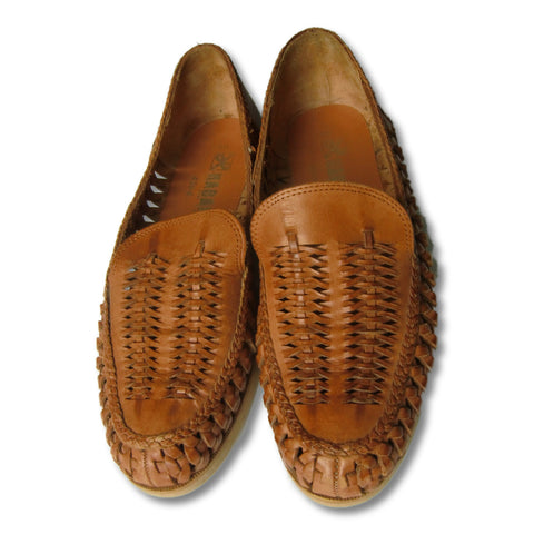 used Haband man's tan weaved loafer