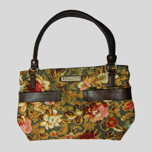 used Longabearer ladies brown floral tote bag