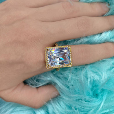 Emerald Cut Zircon Ring (1256)