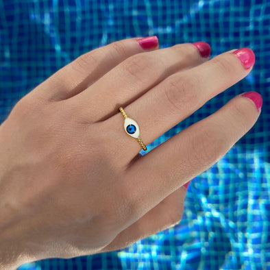 Oval Evil Eye Ring (1305)