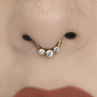 3 Zircon Nose Ring (KI170)