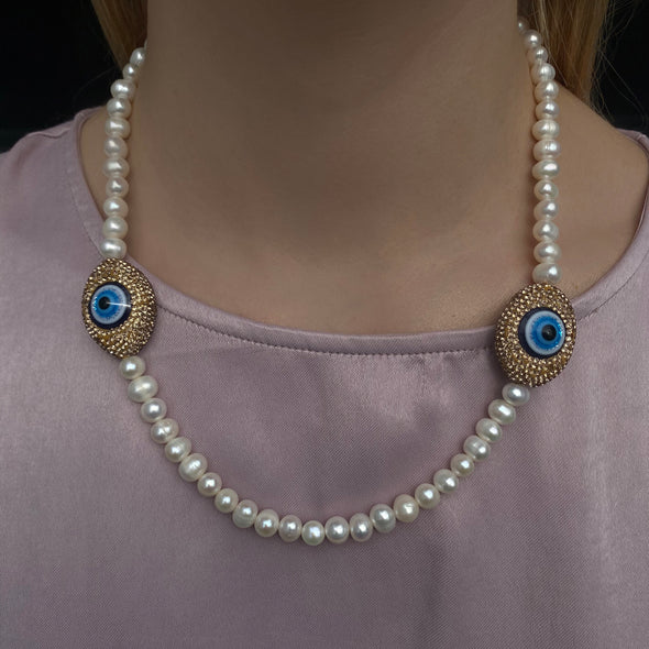 Double Evileye Pearl Necklace (180)
