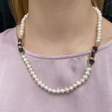 Amethyst Pearl Necklace (182)