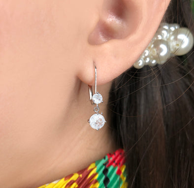 Arete broche doble zirconia (621)