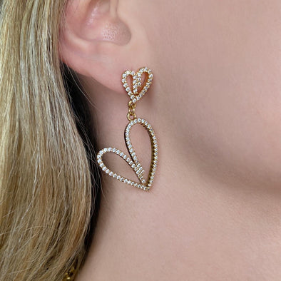 Dangle Heart Earrings (W097)
