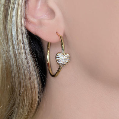 Pave Heart Hoops (W096)