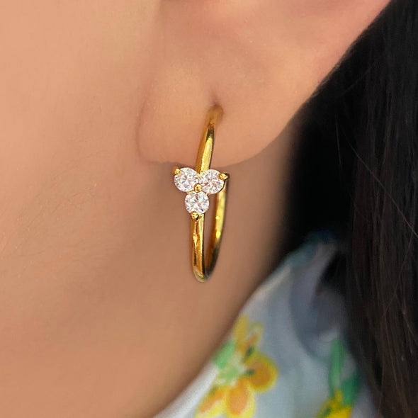 Crystal Flower Hoops (1289)