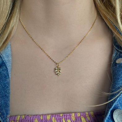 Leaf Pave Necklace (W103)