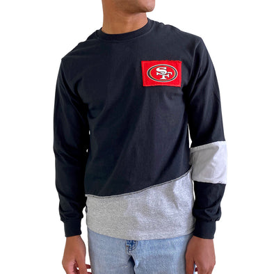 San Francisco 49ers Men's Long Sleeve Angle Tee - Black/White/Grey