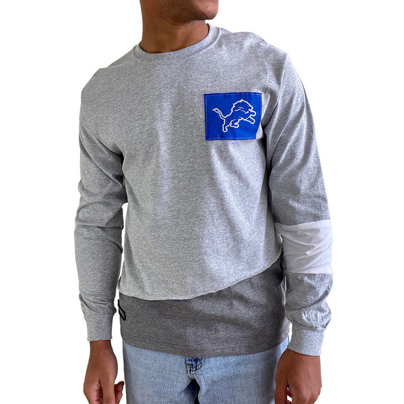 Detroit Lions Men's Long Sleeve Angle Tee - Black/White/Grey