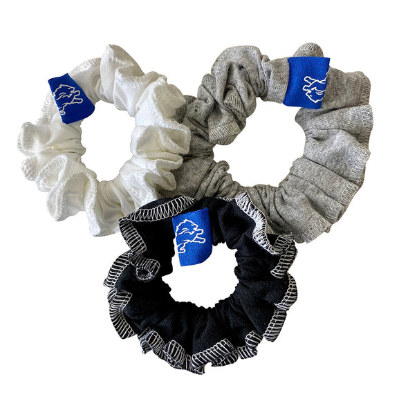 Detroit Lions Hair Scrunchies – 3-Pack - Black/White/Grey