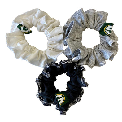Green Bay Packers Hair Scrunchies – 3-Pack - Black/White/Grey