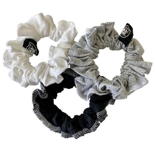 Las Vegas Raiders Hair Scrunchies – 3-Pack - Black/White/Grey