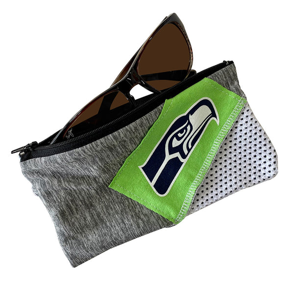 Seattle Seahawks Zipper Pouch - Black/White/Grey