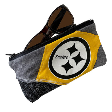 Pittsburgh Steelers Zipper Pouch - Black/White/Grey