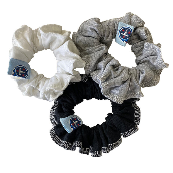 Tennessee Titans Hair Scrunchies – 3-Pack - Black/White/Grey