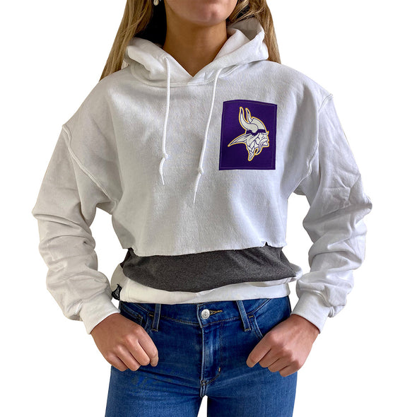 Minnesota Vikings Women's Hooded Crop Sweatshirt - Black/White/Grey