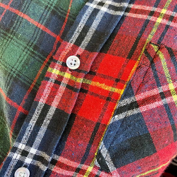 Split Flannel Button Down - Green/Red