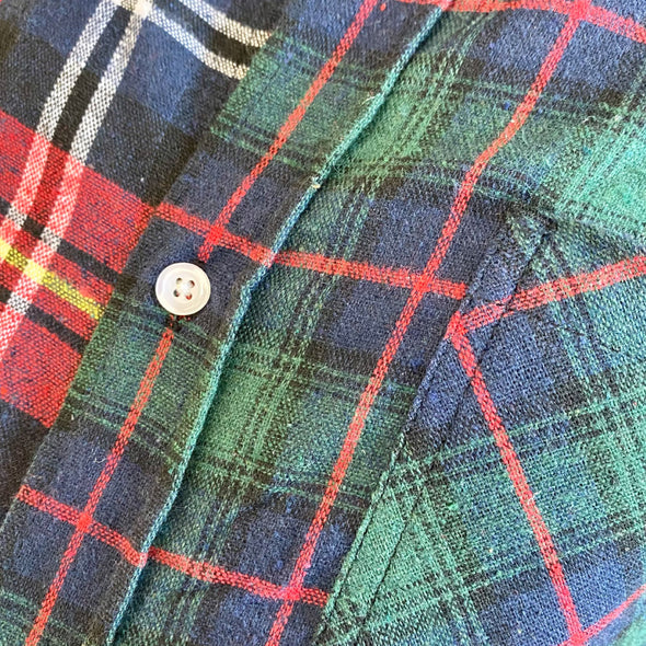 Split Flannel Button Down - Red/Green