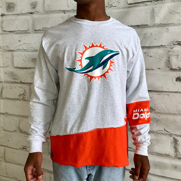 Miami Dolphins Split Angle Long Sleeve Tee Top