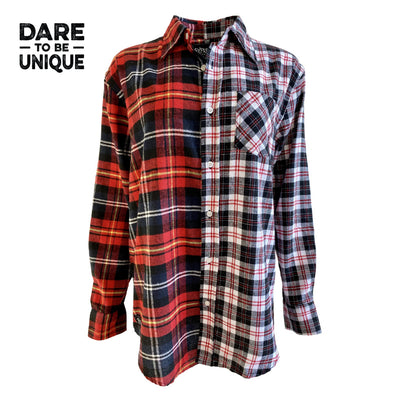 Split Flannel Button Down - Red/White