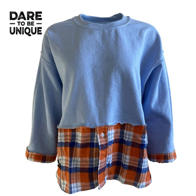 Crew Sweat Flannel - Blue/Orange