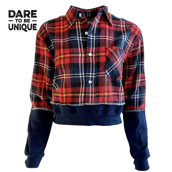 Crop Flannel with Band - Red/Navy